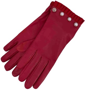 Gucci Red Leather Gloves