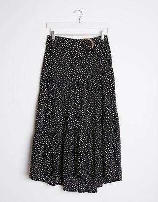 Stradivarius long skirt with belt in black polkadot print