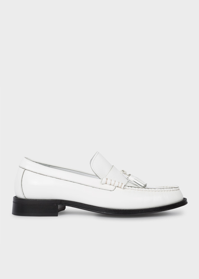 Paul Smith Men's White 'Lewin' Leather Loafers
