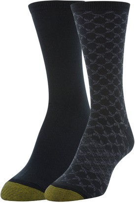 Gold Toe Women's Little Black Leaf and Flat Knit Crew Socks 2 Pairs Shoe Size: 6-9