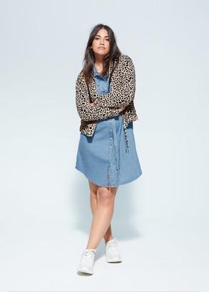 MANGO Violeta BY Hooded animal print jacket medium brown - XXL - Plus sizes