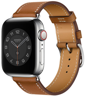 Apple Watch Hermes GPS + Cellular, 40mm Silver Stainless Steel Case with Fauve Barenia Single Tour