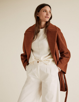 Marks and Spencer Textured Belted Wrap Coat