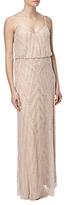 Adrianna Papell Sleeveless Blouson Gown,Silver/Nude