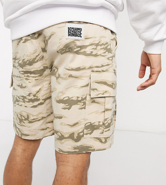 Reclaimed Vintage inspired cargo shorts in camo print