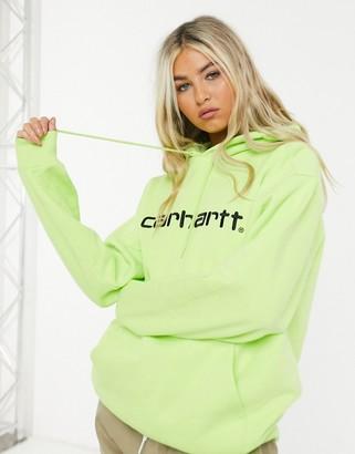 Carhartt WIP hooded sweater in lime & black