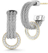Alor Three-Row Micro-Cable Pave Diamond Hoop Earrings, Gray
