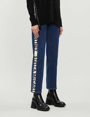 Stella McCartney Logo-tape tapered high-rise stretch-denim jeans
