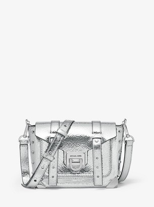 MICHAEL Michael Kors Manhattan Small Crackled Metallic Leather Crossbody Bag