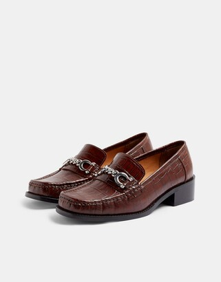Topshop croc buckle detail loafers in chestnut