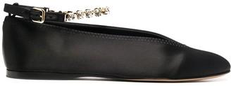 J.W.Anderson Crystal-Strap Satin Ballerina Shoes