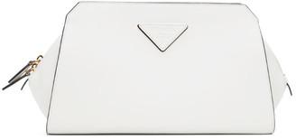 Prada White Logo Zip Around Clutch