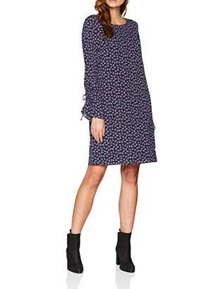 Tom Tailor Women's feminines Langarmkleid mit Blümchendruck, AOP Dress, Blue (Leaves Navy 3)