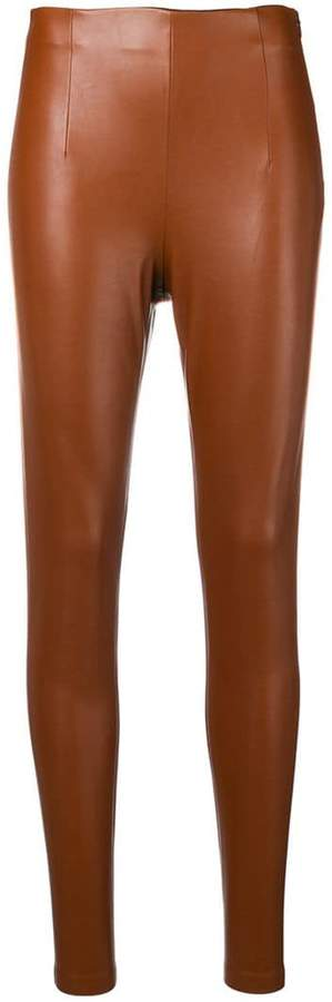 64d2eeed8d0 Brown Leather Leggings - ShopStyle UK