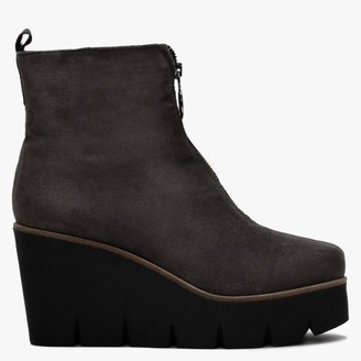 Hamal Grey Suede Zip Front Wedge Ankle Boots