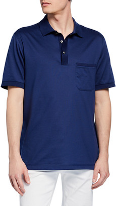 Brioni Men's Jersey Polo Shirt with Pocket