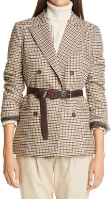 Brunello Cucinelli Houndstooth Double Breasted Linen, Wool & Silk Blazer