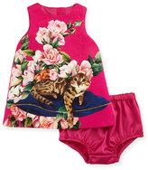 Dolce & Gabbana Flower Cat Dress, Pink, 12-36 Months