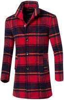 Partiss Men's Plaid Stand Collar Single Breasted Trench Coat Chinese XL