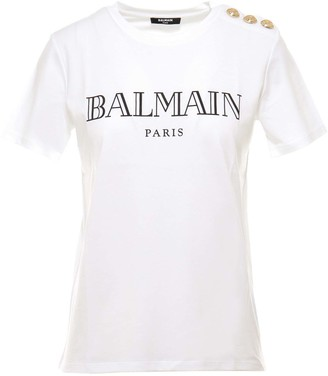 Balmain Logo Print Button Detailed T-Shirt