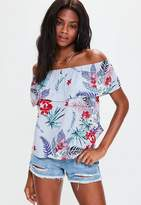 Missguided Blue Striped Floral Bardot Top, Blue