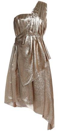 ADAM by Adam Lippes One-Shoulder Asymmetric Pleated Silk-Blend Lamé Dress