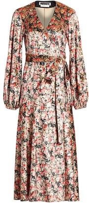 Rotate by Birger Christensen Beatrix Floral Velvet Puff-Sleeve Wrap Dress
