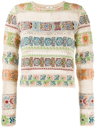 Etro Intarsia Knit Cut-Out Detail Jumper