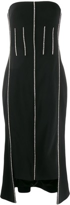 David Koma Crystal-Embellished Strapless Dress