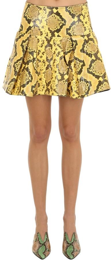 Pleated Snake Print Leather Mini Skirt