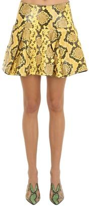 Marques Almeida Pleated Snake Print Leather Mini Skirt