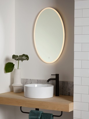 John Lewis & Partners Aura Wall Mounted Illuminated Bathroom Mirror, Oval
