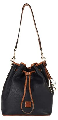 Dooney & Bourke Pebble II Drawstring (Black/Brandy Trim) Tote Handbags