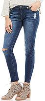 Celebrity Pink Destructed Raw Hem Ankle Skinny Jeans