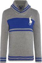Polo Ralph Lauren Boys Block Stripe Shawl Neck Jumper
