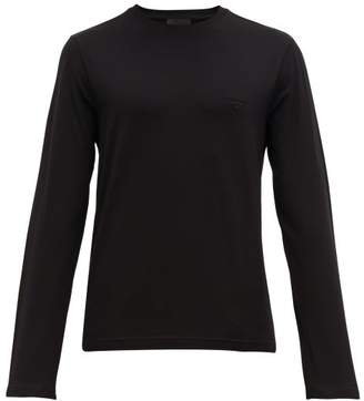 Prada Logo-embroidered Cotton-blend T-shirt - Mens - Black