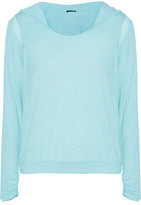 Heidi Klum Intimates Cozy Mornings Lace-Trimmed Stretch-Jersey Hooded Pajama Top