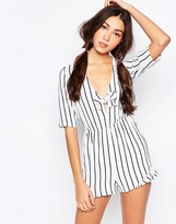 Daisy Street Romper With Frill Hem And Tie Front In Stripe Print