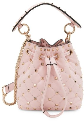 Valentino Mini Rockstud Spike Leather Bucket Bag