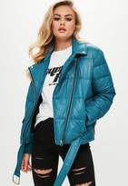 Missguided Blue Puffer Biker Jacket