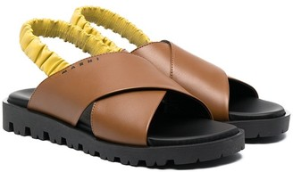 Marni TEEN crossover-straps flat sandals