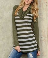 Celeste Olive Stripe Cowl Neck Top