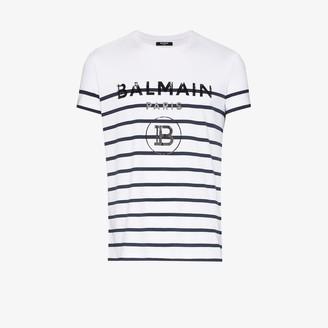 Balmain striped logo print cotton T-shirt