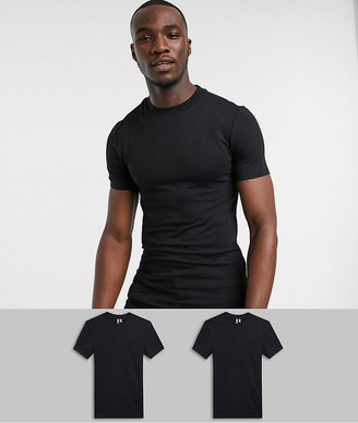 Asos DESIGN Tall 2 pack organic muscle fit t-shirt with crew neck save