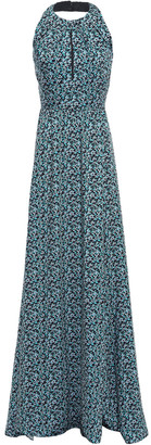 Lela Rose Pleated Printed Twill Halterneck Gown