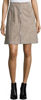 Lafayette 148 New York Turner Suede Zip-Front Skirt, Flagstone