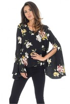 AX Paris Black Floral Bell Sleeve Top