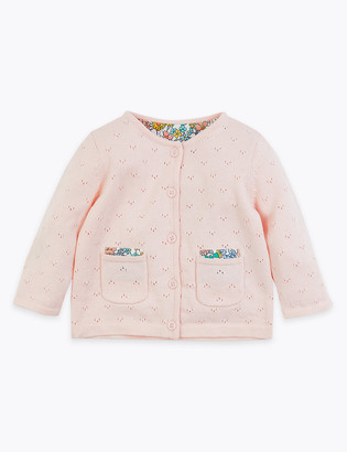 Marks and Spencer Cotton Pointelle & Floral Cardigan (0 -36 Mths)