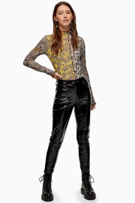 Topshop Womens Black Faux Leather Vinyl Jamie Jeans - Black