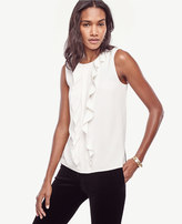 Ann Taylor Petite Pleated Ruffle Shell